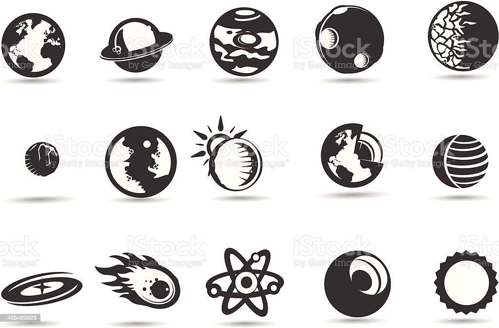 Solar System Icons vector art illustration