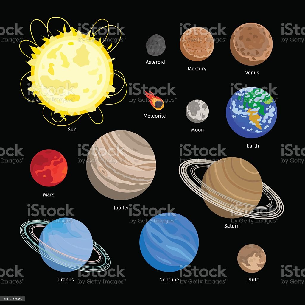 Solar system planet icons vector art illustration