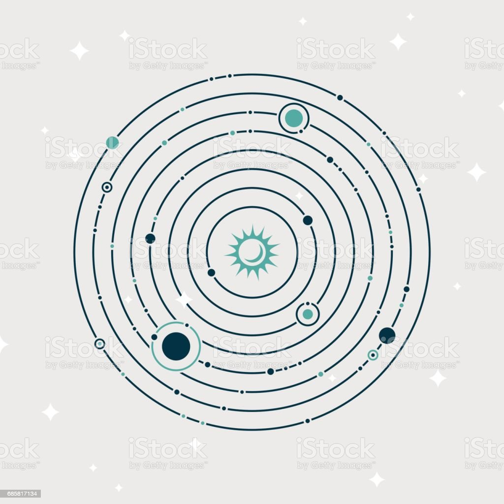 Solar System Planet Orbiting vector art illustration