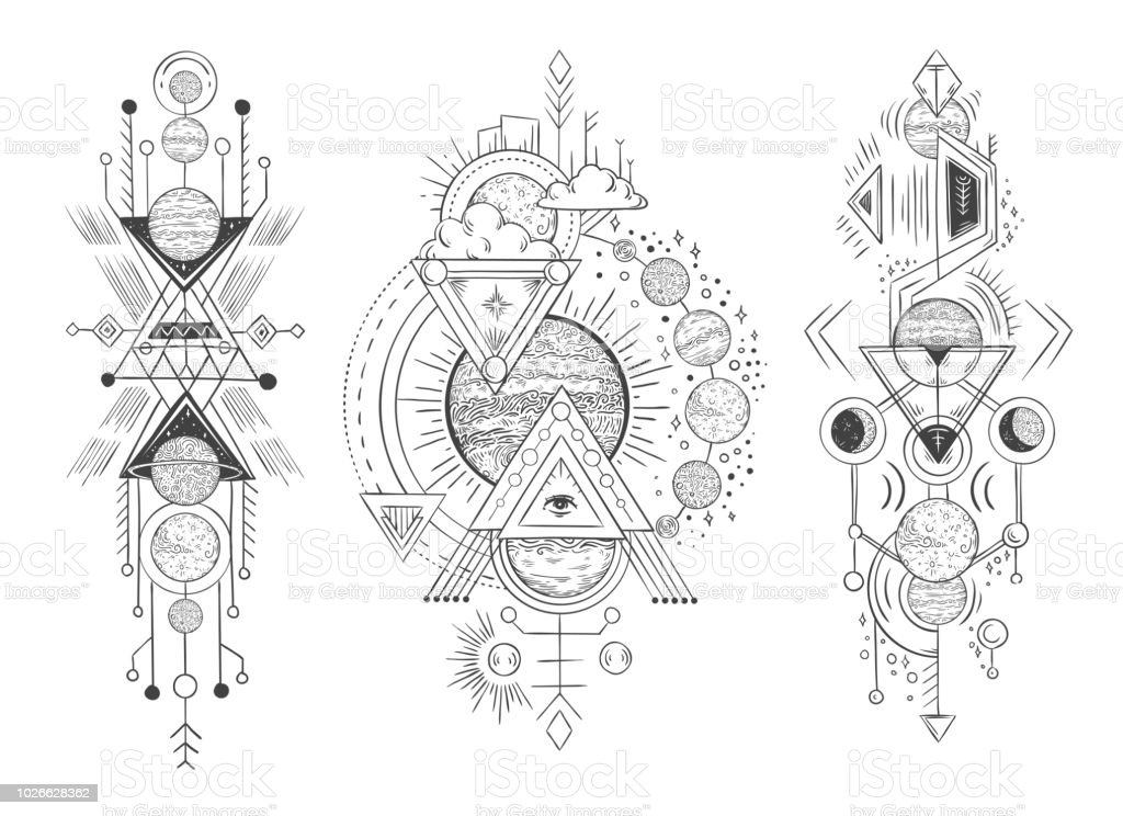9d6e872f8 Solar system planet sketch. Parade of planets, moon phases and hand drawn  astrology. Astrological tattoo vector illustration - Illustration .