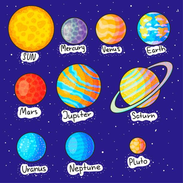 sonnensystem planeten hand gezeichnete cartoon-vektor-illustrationen-set - sternwarte stock-grafiken, -clipart, -cartoons und -symbole