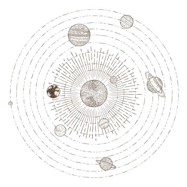 solar system planets orbits. hand drawn sketch planet earth orbit around sun. astronomy vintage orbital planetary vector illustration - астрономия stock illustrations