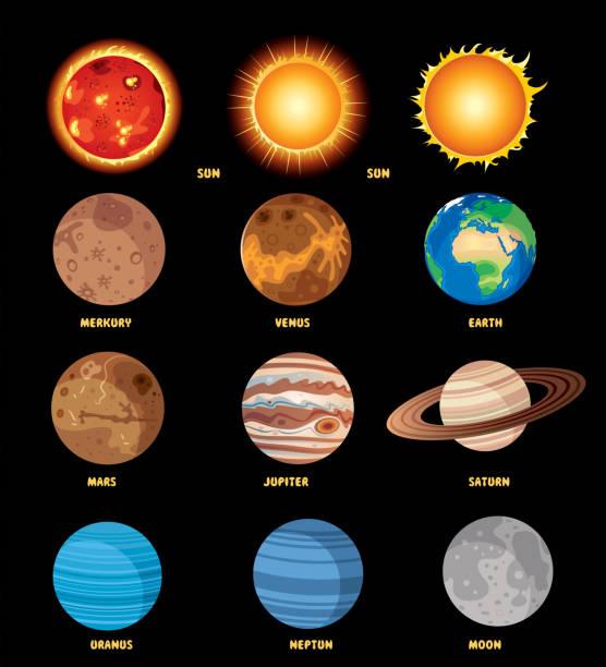 solar system poster - venus stock illustrations