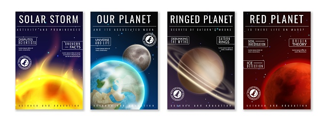 Solar system. Realistic planets space galaxy universe sun jupiter saturn mercury neptune venus uranus pluto star orbit 3d posters set