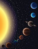 Vector illustration of planets in our solar system.
