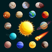 Solar system vector illustration. Sun, planets, satelites cartoon space icons and design elements.
