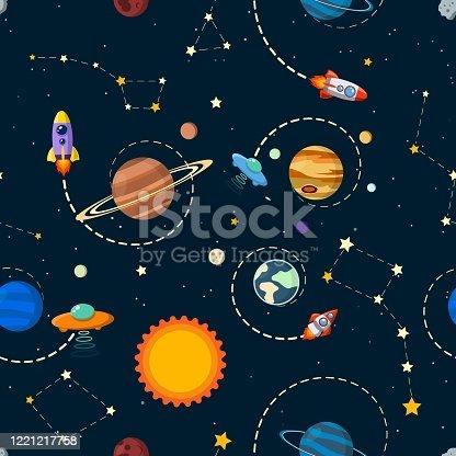 solar system vector kids cartoon planet seamless pattern.