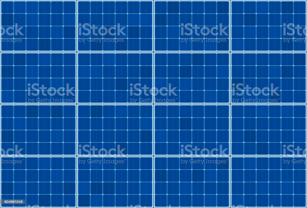 Solar thermal collector - flat plate system - vector illustration of photovoltaic technology - blue background pattern, horizontal orientation. vector art illustration