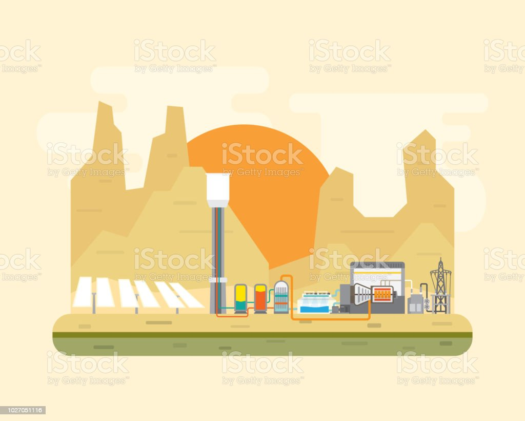 Solar Thermal Power Plant Stock Illustration - Download