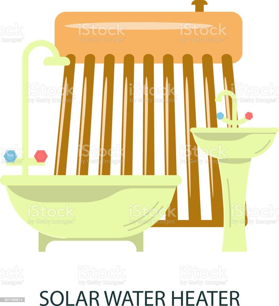 Ilustración de Solar Calentador De Agua y más banco de imágenes de ...