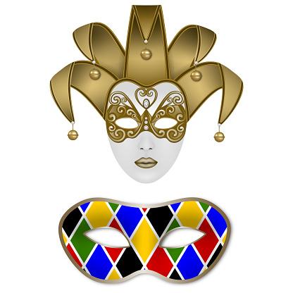 solated carnival masks. Venetian jolly mask and Harlequin mask