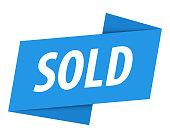 Sold - Banner, Speech Bubble, Label, Ribbon Template. Vector Stock Illustration