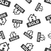 Sold house seamless pattern. Business concept sold home pictogram. Vector illustration on white background.