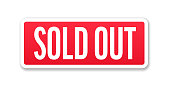 Sold Out - Banner, Label, Paper, Button Template Vector Stock Illustration