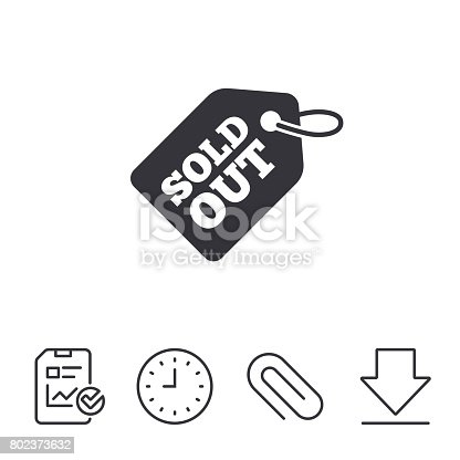 Sold out tag icon. Shopping message sign. Special offer banner symbol. Report, Time and Download line signs. Paper Clip linear icon. Vector