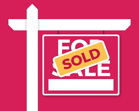 For Sale and Sold real estate home property for sale concept realtor sign illustration.