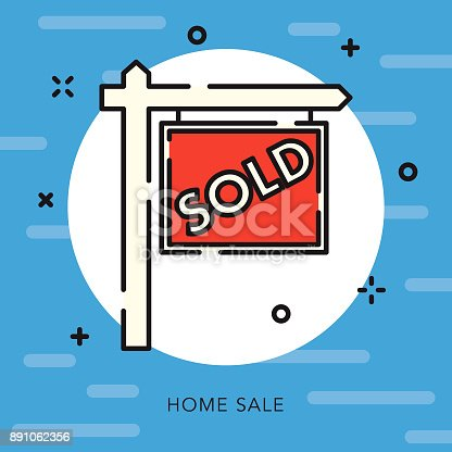 istock Sold Sign Open Outline Real Estate Icon 891062356