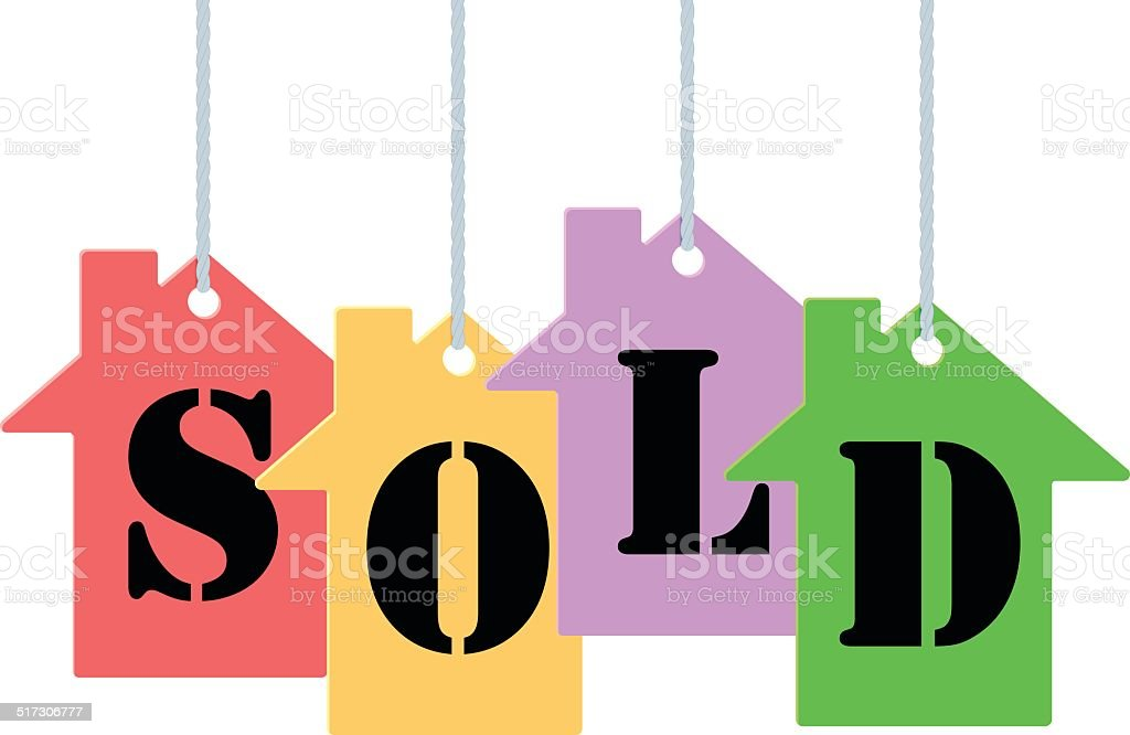 Sold tags vector art illustration