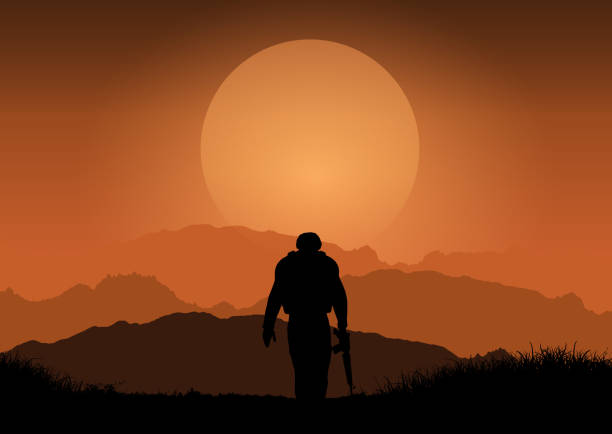soldier against sunset landscape - army soldier stock illustrations, clip art, cartoons, & icons