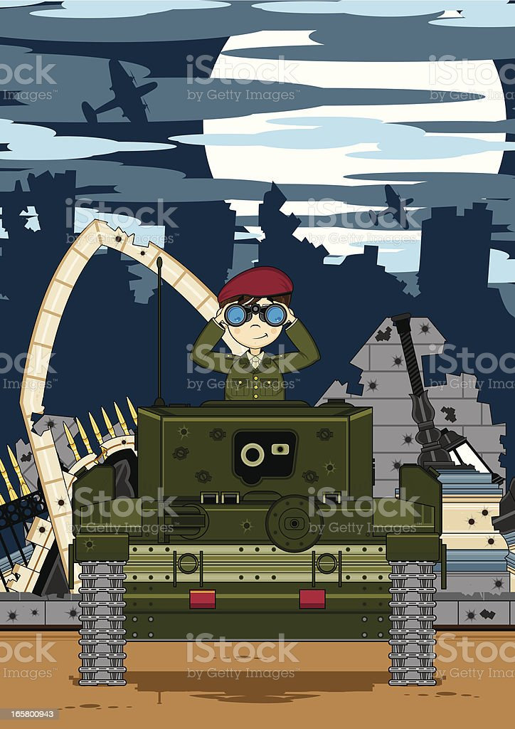 Soldier and Tank in Ruined City royalty-free stock vector art