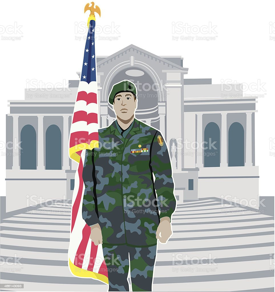 Soldier Arlington C vector art illustration