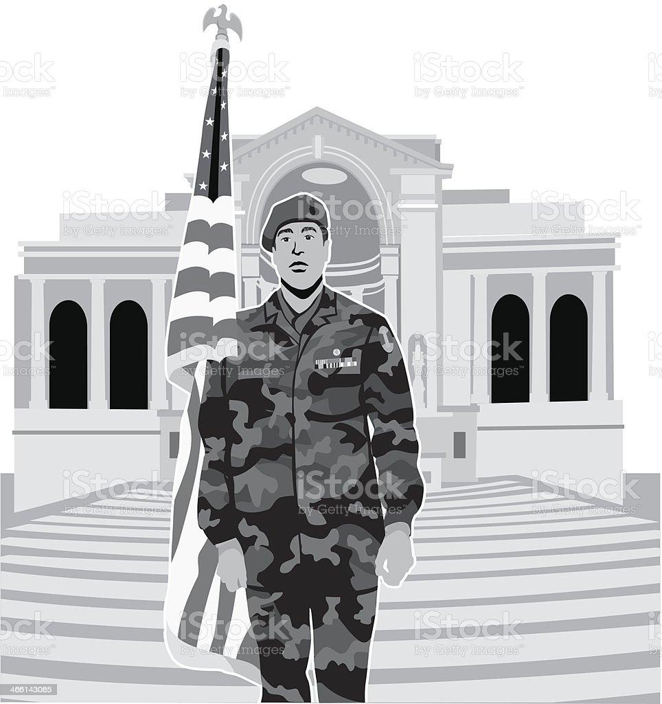Soldier Arlington vector art illustration