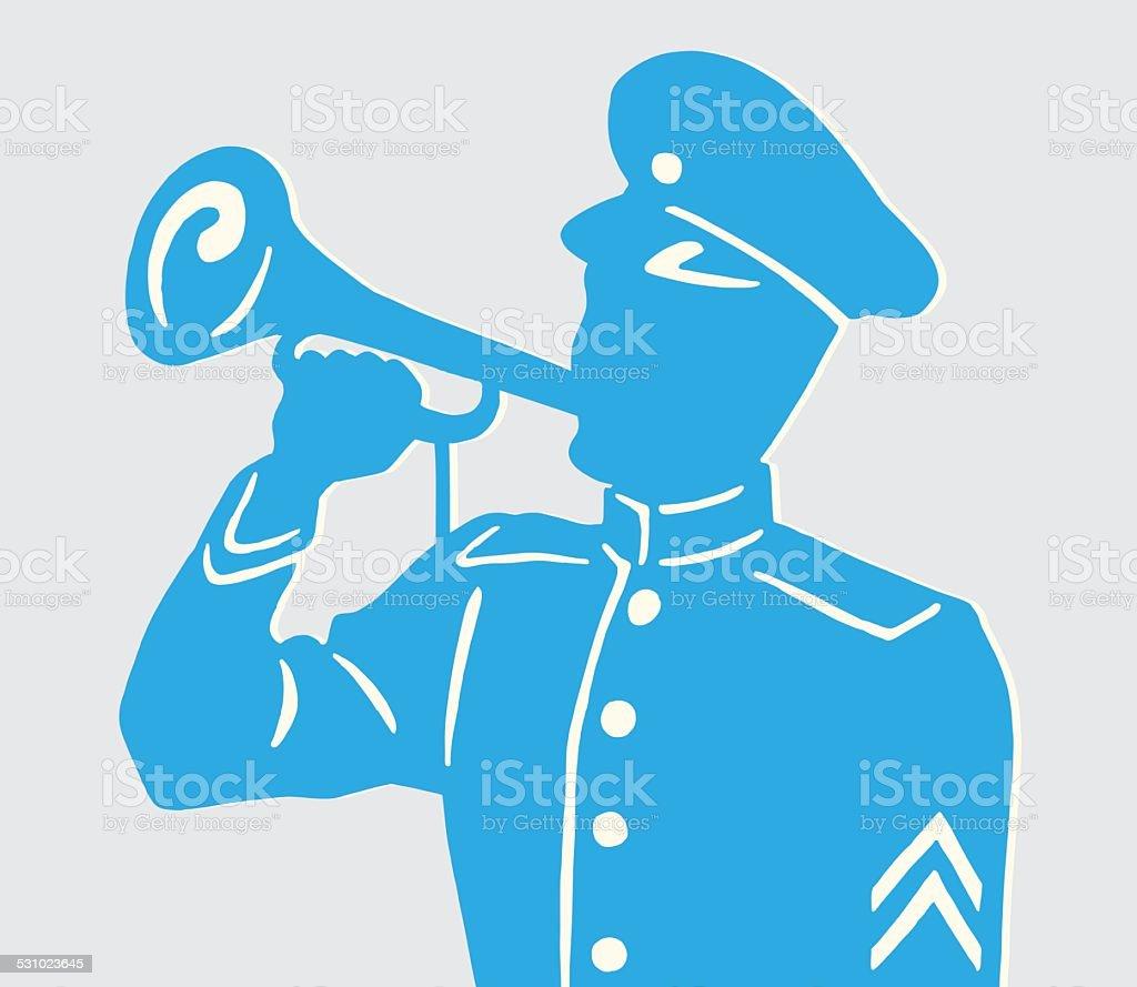 Soldier Blowing Horn vector art illustration