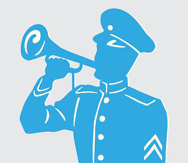 Soldier Blowing Horn vector art illustration