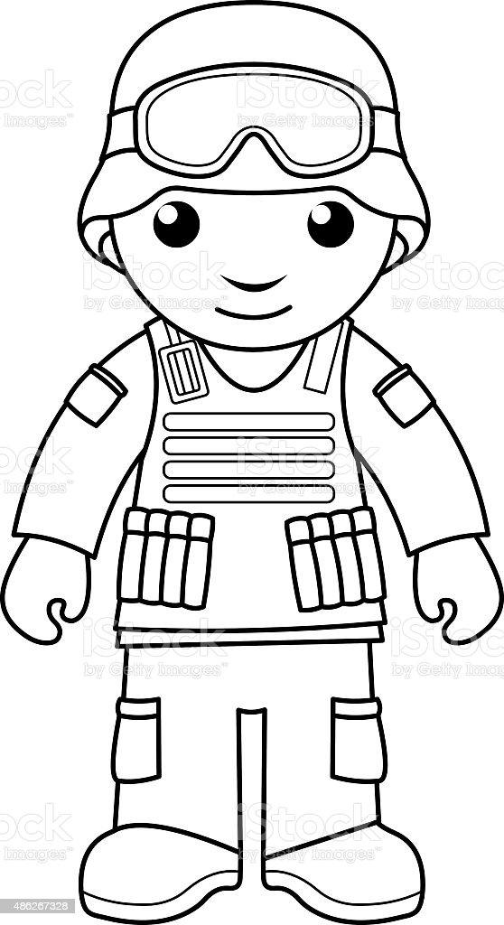Ilustración de Soldado Para Colorear Página Para Niños y más banco ...