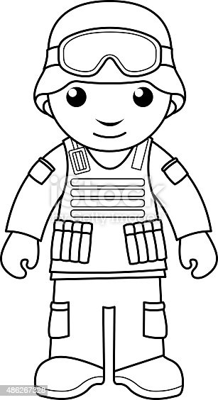 Soldier Coloring Page For Kids Stock Vector Art & More