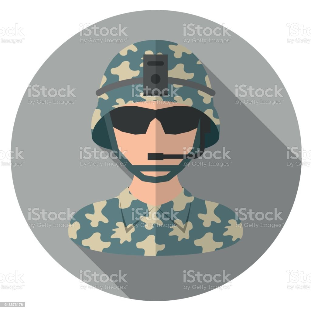 Soldier Flat Icon vector art illustration