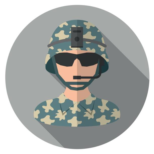 soldier flat icon - army soldier stock illustrations, clip art, cartoons, & icons