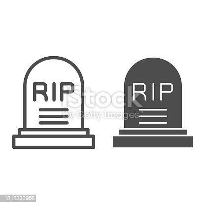 istock Soldier gravestone line and solid icon. Grave RIP, cemetery dead person monument symbol, outline style pictogram on white background. Military sign for mobile concept and web design. Vector graphics. 1212232956