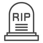 istock Soldier gravestone line icon. Grave RIP, cemetery dead person monument symbol, outline style pictogram on white background. Military sign for mobile concept and web design. Vector graphics. 1212235720
