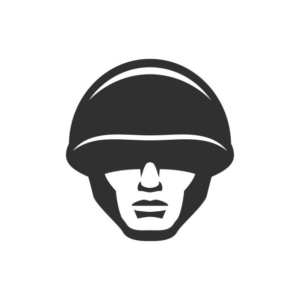 soldier head in a helmet icon - army soldier stock illustrations, clip art, cartoons, & icons