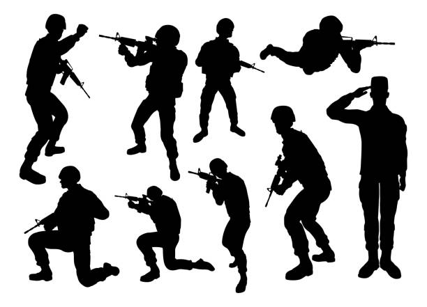 soldier high quality detailed silhouettes - army soldier stock illustrations, clip art, cartoons, & icons