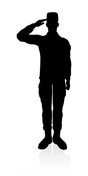 Soldier High Quality Silhouette Detailed silhouette of military armed forces army soldier saluting stock illustrations