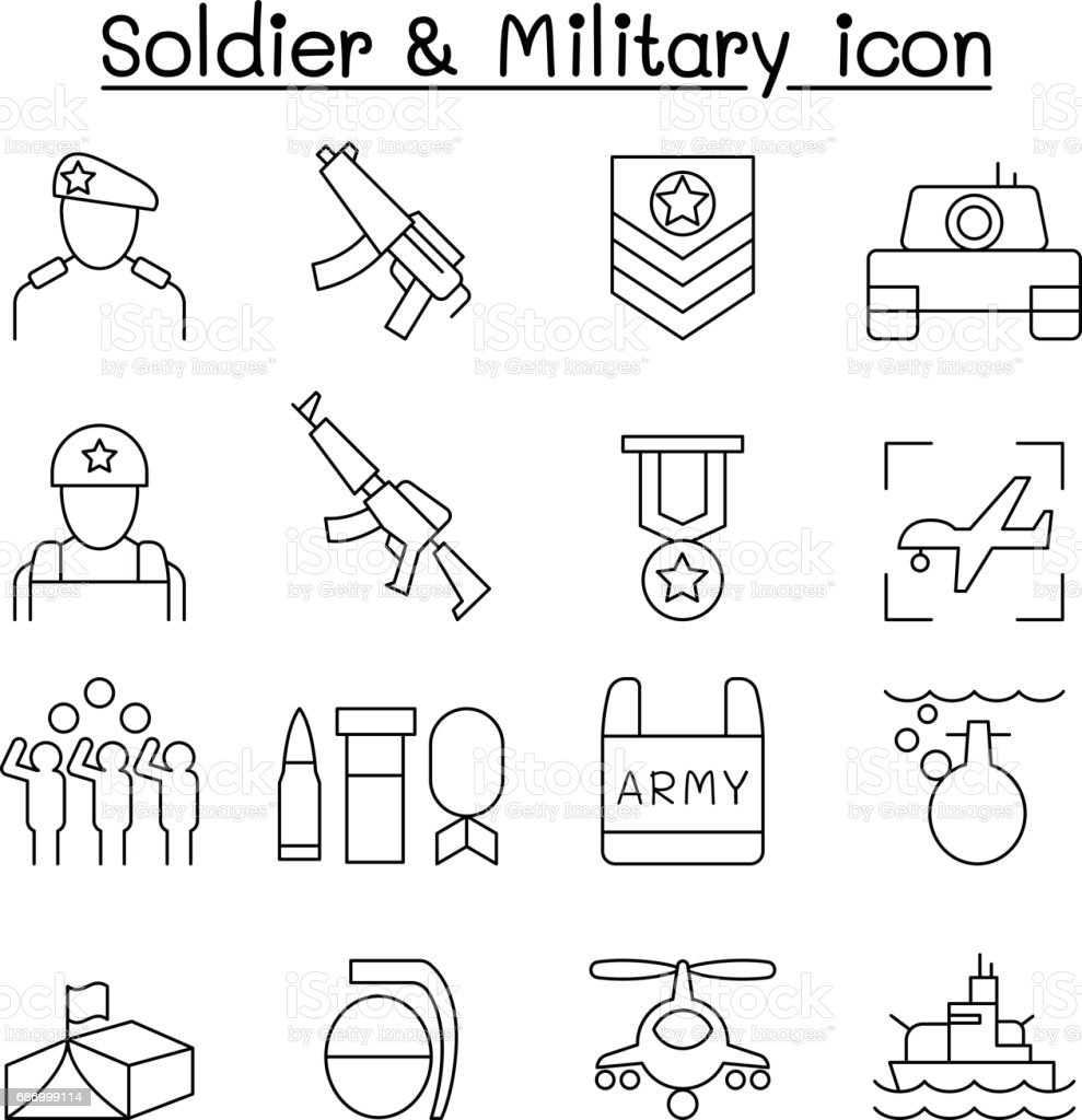 Soldier icon set in thin line style vector art illustration