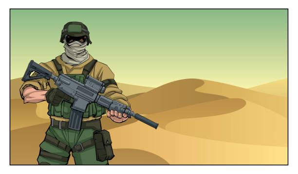 Soldier in Desert Illustration of masked soldier on a mission in the desert. trooper stock illustrations