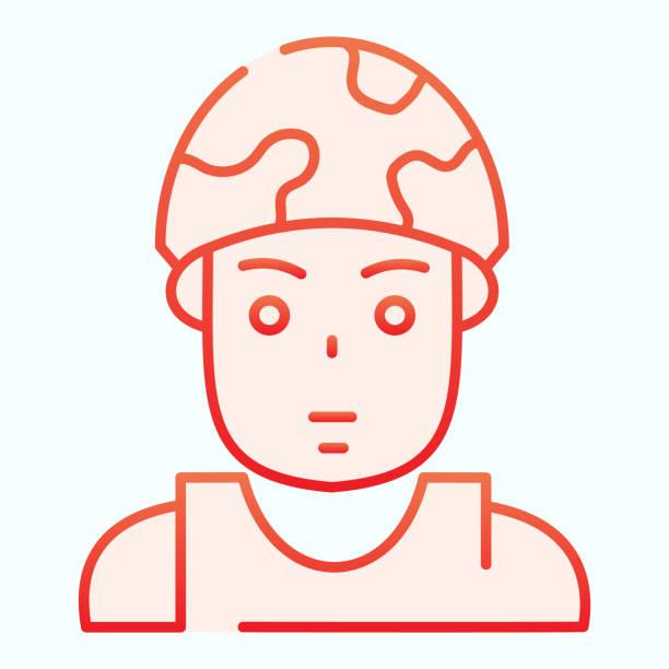bildbanksillustrationer, clip art samt tecknat material och ikoner med soldat i hjälm platt ikon. militär vektor illustration isolerad på vitt. armén satt i sin gradientstil design, utformad för webb och app. eps 10. - endast en man