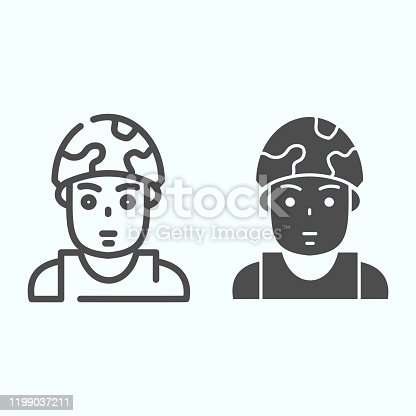 Soldier in helmet line and glyph icon. Military man vector illustration isolated on white. Army combatant outline style design, designed for web and app. Eps 10