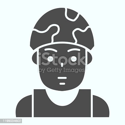 Soldier in helmet solid icon. Military man vector illustration isolated on white. Army combatant glyph style design, designed for web and app. Eps 10