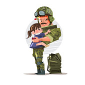 Soldier in uniform reunited with his daughter. character design. happy family - vector