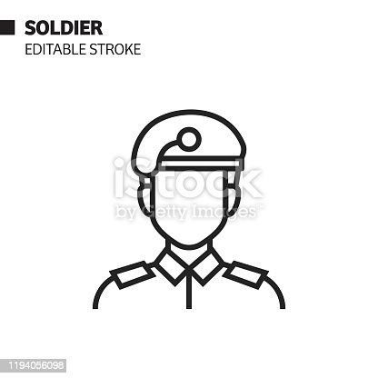 istock Soldier Line Icon, Outline Vector Symbol Illustration. Pixel Perfect, Editable Stroke. 1194056098