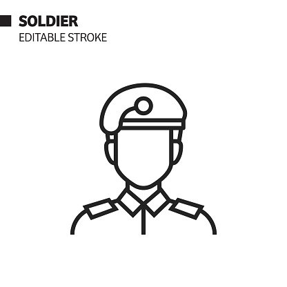 Soldier Line Icon, Outline Vector Symbol Illustration. Pixel Perfect, Editable Stroke.