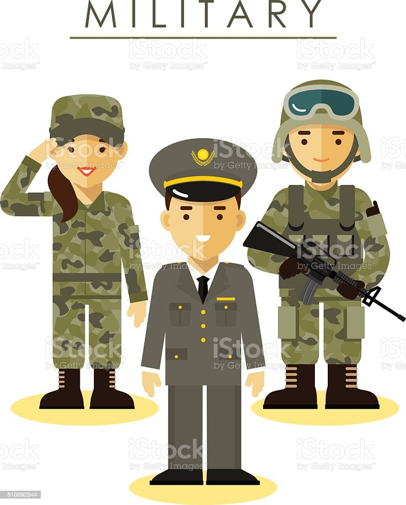 Soldier man and woman in different military uniform vector art illustration