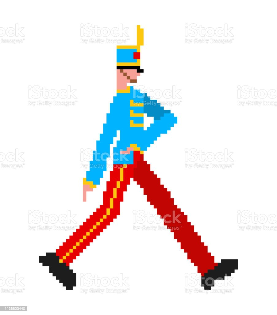 Soldat Marchant Pixel Art Garde 8bit Garde Enrôlé Homme 8