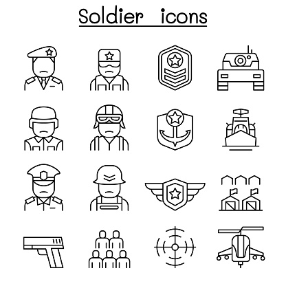 Soldier & Military icon set in thin line style