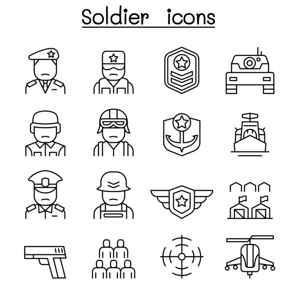 Soldier & Military icon set in thin line style vector art illustration