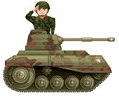 Soldier on a tank illustration